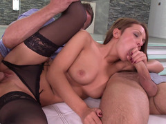 Slutty angel in sexy lingerie works two phalluses simultaneously