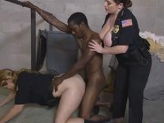 Lustful lady cops with huge asses getting hammered by a black rod