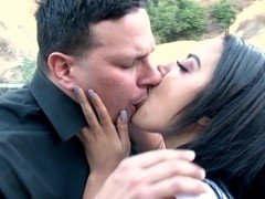 Sexy Latina girl in shorts gets fucked by macho's cock outdoors