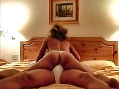 Woman dry humping in thong