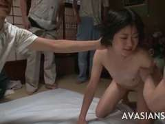 Extraordinary orgy soiree with a tiny asian schoolgirl