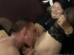 Horny old female gets her love hole licked