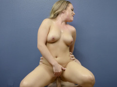 A blonde is sucking a cock and her fat pussy is pounded by a big pecker