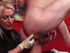 Soccer mom doctor teases her patient during CFNM