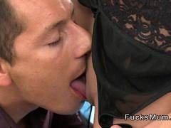 Beautiful mom in lingerie fucks young cock