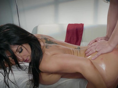 Top heavy girl is losing her top and she is getting fucked well