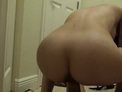 A chick with huge hooters gets fucked in the laundry room hard