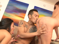 Asian dude with a big dick fucking two slutty pornstars