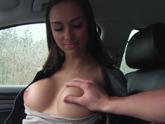 Peach is so horny that blows and rides penis in the small car