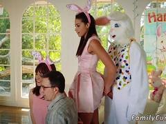 Gorgeous brunette babe is tempted to try a dick from her uncle in bunny costume