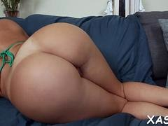 Brunette babe with a big booty gets her twat rammed so hard
