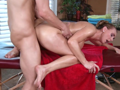 A sexy lady is getting loved by her masseur in the living room