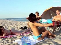 Good-looking milfs are getting picked up on the beach and plus brought home for a quickie foursome