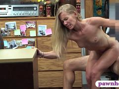 Blonde slut screwed by horny pawn keeper to earn money
