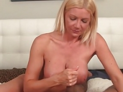 Busty cougar mom tugging pov guy