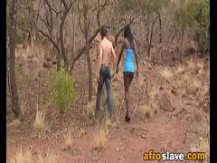 Nipple torture and rough outdoor deepthroat with African slut