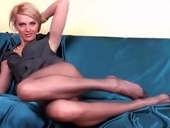 Slender kitten with long pantyhose legs