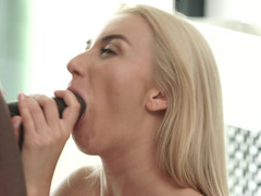 A black dude is fucking a hot blonde that has long sexy hair