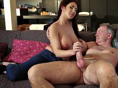 Old prick slams natural babe with jiggling massive boobs