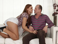 Slutty redhead gets creampied after sex with stepdad