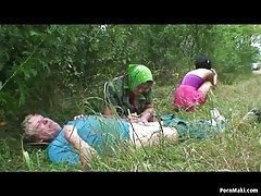 Granny threesome in the forest