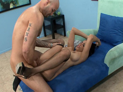 A hot chick that has her pantyhose on is getting penetrated on the chair