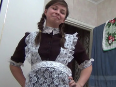 Horny girlfriend in a maid outfit riding her boyfriend's pecker
