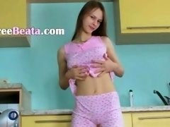 Vagina fingering and dildoing in kitchen of boobalicious teenager Beata