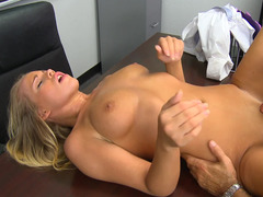 A blonde spreads her open and she gets her pussy licked in the classroom