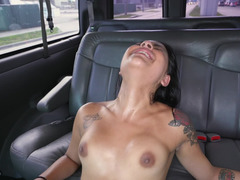 Sweaty dick riding chick in the back seat of the van