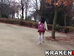 cute schoolgirl provocating  on the streets, outdoor