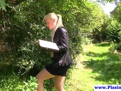 Doggystyle banged beauty gets pissed on