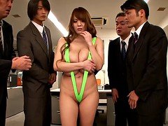 Big boobs asian with tiny lingerie body