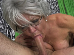 Granny gets sweaty taking dick in her old pussy