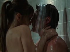 A sexy lady is in the shower with two horny dudes, fucking