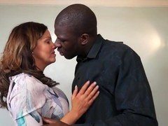 Mature British mom cheating on her husband with black guy