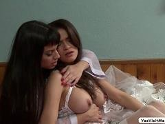 Babe Vanessa gets her pussy fingered by Mercedes