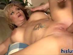 Naughty cougar rides on a massive member