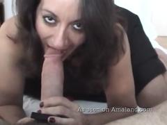 Arab MILF blows a huge cock