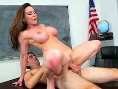 A milf teacher is teasing her student with her naked flesh