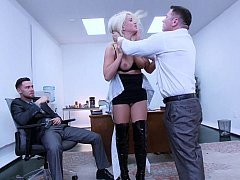 Sexy secretary discovers her pussy can swallow two