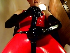 Latex femdom goddess with sizeable strapon !