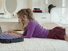 Step daughter spends her time well online