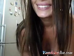 horny brunette plays with her wet pussy on cam feature