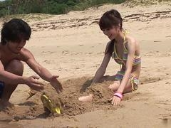 Frisky couple strip and moreover bang on the beach hardcore