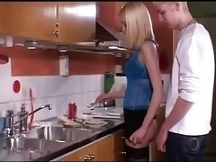 young-looking blonde fucked in kitchen - csm