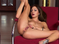 Stripping and fingering by cute coquette that dreams to be popular