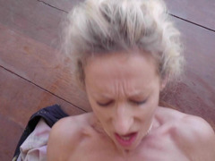 A blonde mature babe with a sexy cunt is handling a big cock