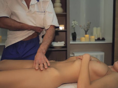 Brunette with a hot frame gets her ass and tits handled by a guy