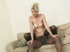 Underweight granny gets an anal sticky creampie